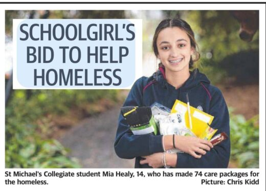 Mia Healy has made 74 care packages for the homeless.